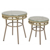 Tables d appoint nimbin set de 2 taupe - garden furniture