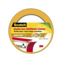 Adhésif scotch fixation double face surfaces lisses l.20 m x l.50 mm, marron