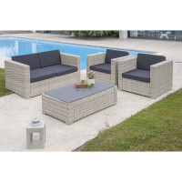 Salon jardin oceane lunch blanc, 1 banquette 2places, 2 fauteuils, 1 table basse