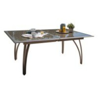 Table de jardin rectangulaire brun / marron 10 personnes aluminium