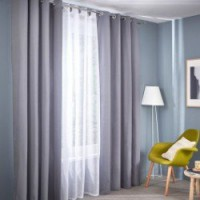 Voilage tamisant, ava, blanc, l.140 x h.260 cm inspire polyester