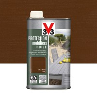 Huile v33 protection mobilier opaque 1 l, teck brun