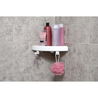 Etagère de bain / douche d'angle bouton poussoir, blanche, snap up shelf