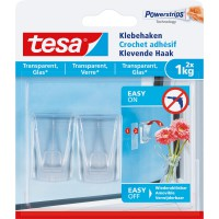 Lot de 2 crochets à fixer smart mounting system, transparent tesa 1 kg