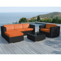 Salon de jardin sd8201-black-orange polyrotin noir, 5 personnes