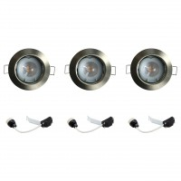 Kit 3 spots à encastrer fixe bang led 2700k gu10 rond nickel no name