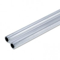 Tube double en aluminium brut, long 1m x larg 27.5 x ep 1.5 mm