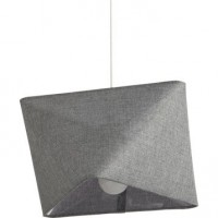 Suspension, e27 design carly tissus gris 1 x 60 w mathias