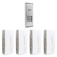 Pack interphone 1 platine + 4 combinés filaire, thomson multihome