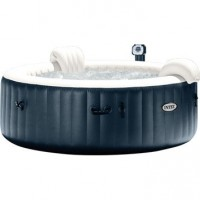 Spa gonflable intex pure spa bulles led rond, 4 places assises