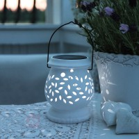 Photophore solaire led gris clay lantern