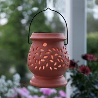 Photophore led solaire clay lantern en terracotta