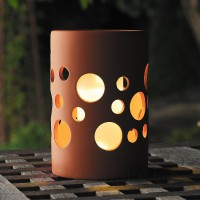 Lampe solaire new genova led cylindre terracotta