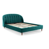Margot, lit super king size (180 x 200) avec sommier, velours bleu écume