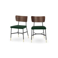Amalyn, lot de 2 chaises, velours vert sapin