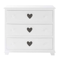 Commode 3 tiroirs blanche valentine