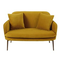 Banquette 2 places en velours jaune moutarde sacha