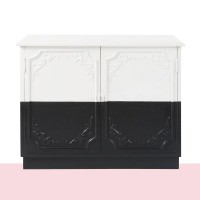 Buffet 2 portes en manguier massif noir et blanc chantal thomass