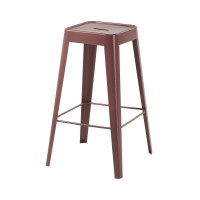 Tabouret de bar en métal bordeaux tom
