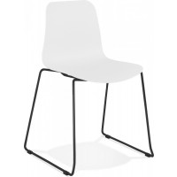 Chaise de table design assise couleur blanc pietement noir