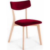 Chaise design tradition velours rouge pieds bois clair