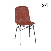 Lot de 4 chaises en rotin terracotta