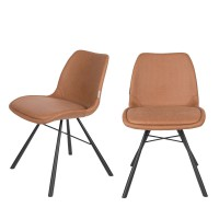 2 chaises en simili micro-perforé marron