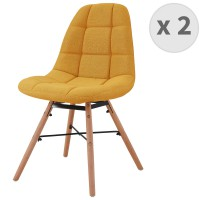 Chaise scandinave tissu curry pieds hêtre (x2)