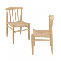 Lot de 2 chaises scandinave en bois naturel - marron