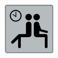 Pictogramme iso 7001 symbole hall/salle d'at tente 90x90 mm