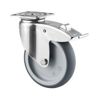 Roulette pivotante inox frein charge 100kg platine d125,