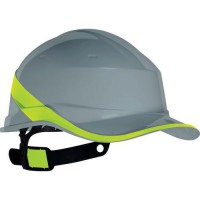 Casque de protection chantier forme casquette baseball gris/jaune diamond5