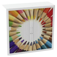 Armoire easy office h.104cm corps blanc rideaux crayons couleurs,