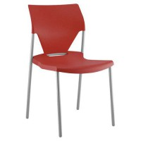 Chaise ioda p.s alu. assise dossier polypro. rouge,