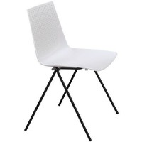 Chaises triangle pied noir assise blanche